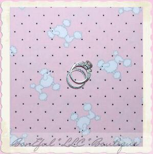 BonEful-Fabric-FQ-Cotton-Martha-Pullen-Baby-Poodle-Puppy-Dog-PINK-B-amp-W-Polka-Dot