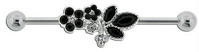 "UNIQUE BLACK FLOWERS ~ Industrial Barbell 14g 1 1/2"" 38mm ~EZ INSERT~FREE EXTRAS"