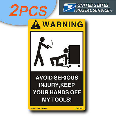 2PCS Warning Decal for your Tool Box, Chest or Cabinet - for Matco, Mac, wrenche
