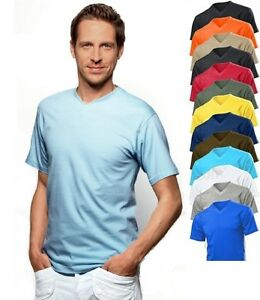 Hanes-5164-Mens-Cotton-Summer-Weight-Short-Sleeve-Vee-V-Neck-Tee-T-Shirt-Tshirt