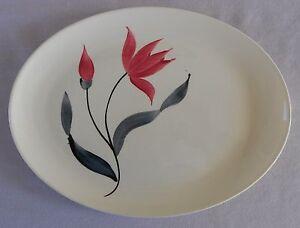Beautiful-STETSON-Hand-Painted-11-7-8-Platter-Red-Flower-STT110