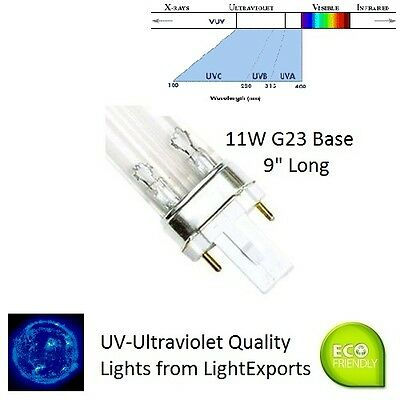 11-Watt Germicidal/Ultra-Violet |UV| Lamp 254nm Replacement G23/UV 9 1/4""