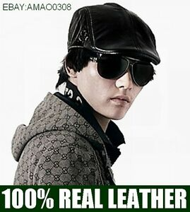 NEW-MEN-039-S-100-LEATHER-HAT-CASUAL-HAT-TAXI-DRIVER-CAP-NEWSBOY-HAT-BERET