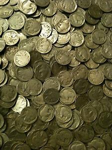 10x-Buffalo-Nickels-P-D-S-1913-1938-Indian-Head-5-Cent-AG-AU-1-US-Type-2-Horn