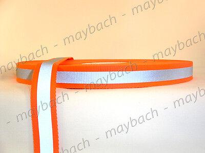 "1"" Orange Reflective Tape - nylon webbing strap fabric leash"