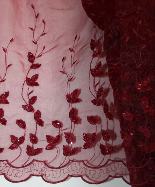 BURGUNDY Embroidered Pageant Bridal ORGANZA Fabric Double Border