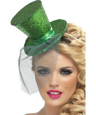 Sexy Smiffy's Halloween Costume Green Glitter Mini Top Hat on Headband w Veil