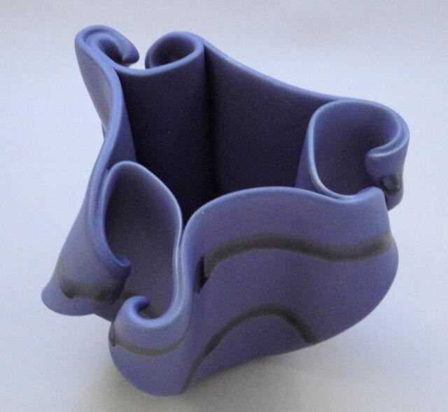 Hilborn Canada Art Pottery Vase Freeform Curled Periwinkle Blue SIGNED Stunning!