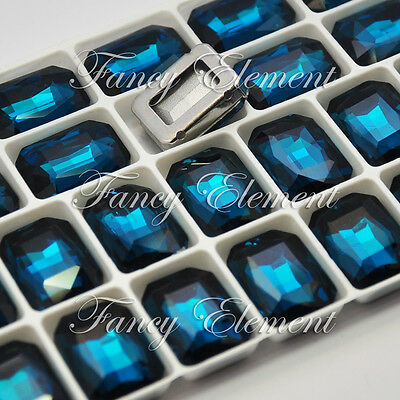 24pcs Sew On Rhinestone 4627 Rectangle 18x13mm Montana Blue Crystal Foiled Glass