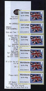 FLAGS-Post-and-Go-LUTON-ARNDALE-COLLECTOR-STRIP-OF-6-SCARCE-OFFICE