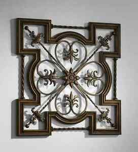 Fleur De Lis Wall Decor ornate tuscan old world wrought iron & wood fleur de lis wall
