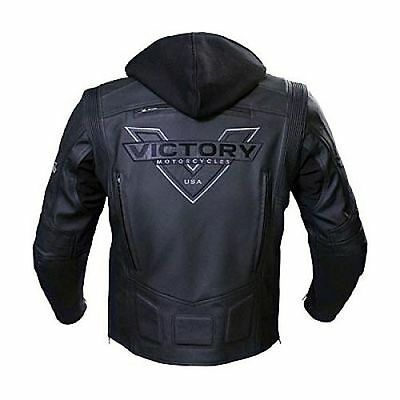 "All New Men's Victory Black Motorcycle ""ATTITUDE"" Leather Jacket Zip out Hoodie"