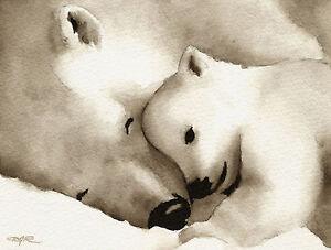 X Five Polar Bear POLAR BEAR Watercolor ...