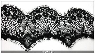 3 Yards Classic Black Fabric Venise Eyelash Lace Trim Edges DIY Embellishment