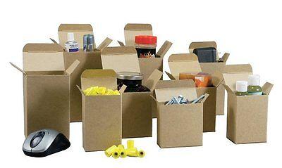 "50  2.5"" x 2.5"" x 8"" Reverse Tuck Mailer Cartons Kraft Folding Chipboard Box"