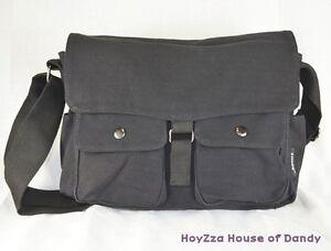 Mens-Classic-Military-Canvas-Small-Size-field-Messenger-Shoulder-Bag-02-Black