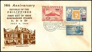 1960-14th-Anniversary-of-the-Philippine-Independence-Surcharged-Stamps-FDC