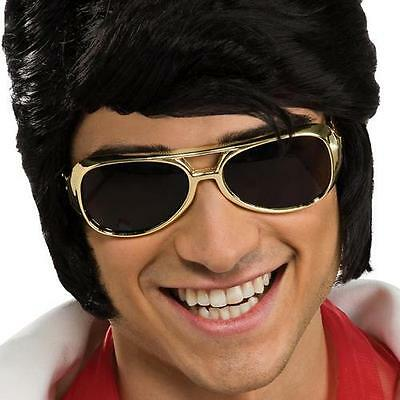 Elvis Presley Sunglasses Rock Star 50's Gold Aviator Halloween Costume Accessory