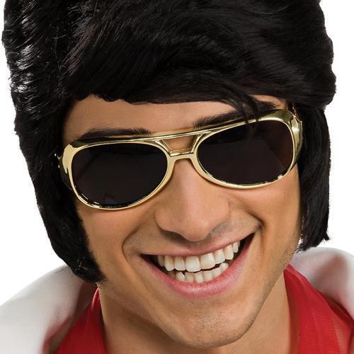 Elvis Presley Sunglasses Rock Star 50's Gold Aviator Halloween Costume Accessory