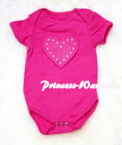 Infant Newborn Baby Optional Color Jumpsuit Romper Hot Pink Heart Print NB-12M