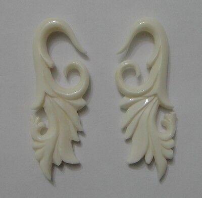 Pair Organic Caved TRIBAL FLORAL BONE SPIRALS TAPER FLOWER HANGER EAR PLUG GAUGE