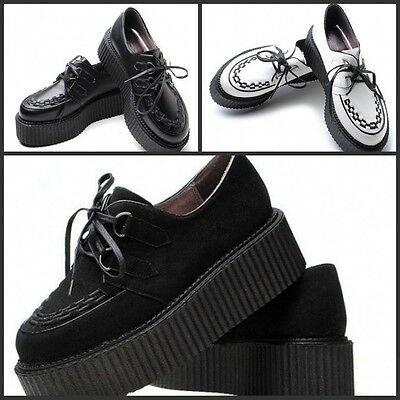 Fashion New Women's Lace Up Punk Goth Platform Faux Suede Flat Creeper Shoes