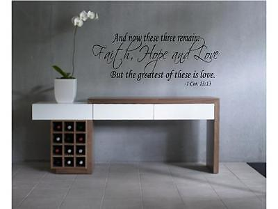 AND NOW THESE FAITH HOPE LOVE Vinyl Wall Decal Quote Saying Lettering Words 24""