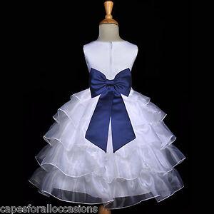white navy blue bridesmaid wedding tiered organza flower