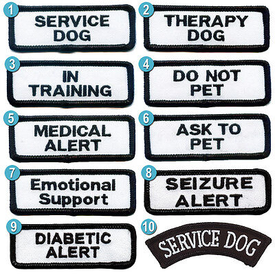 """Small Service Dog Patches 1.25x3.5"""" for small service dog vests - choose from 10"""