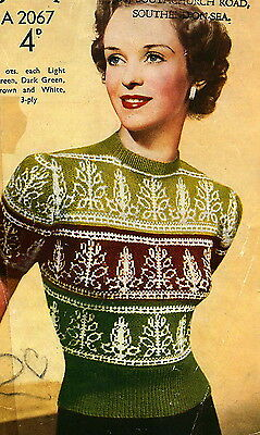 Vintage 1940s fair isle knitting pattern-how to knit a pretty leaf design jumper
