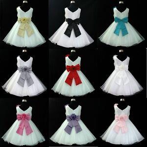 2661ece0d 688 White Christening Party Flower Girls Dresses Age 1