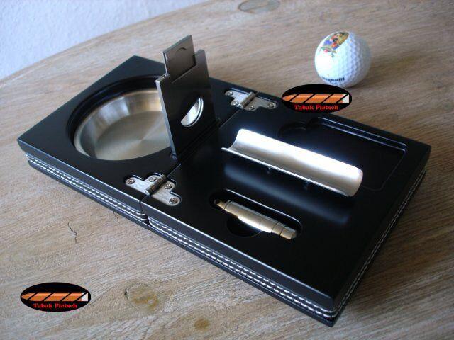 THE BOX | Cigar Smoker Set - Utensils Cigar Ashtray Stack Cutter Puncher Black