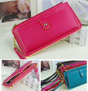 Soft-PU-Leather-Women-Card-Zip-Wallet-Purse-Handbag-Clutch-10-Colors-P064