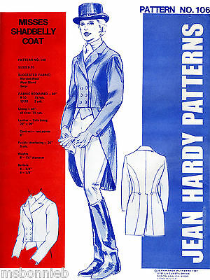 Misses Shadbelly Coat 8-20 - Equestrian / Riding - Jean Hardy Sewing Pattern 106