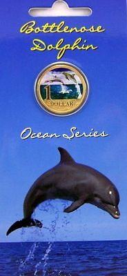 2006 Unc $1 Ocean Series  Dolphin Coloured Pad Printed Coin