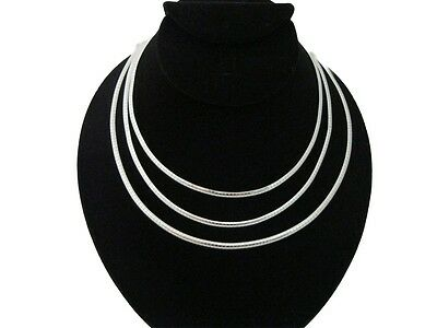 """New In Fashion 4mm Silver Plate Omega Choker Collar Necklace 16"""" 18"""" 20"""" (CO1-6)"""