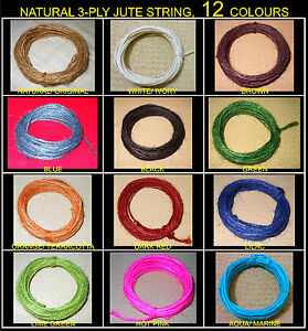 5-10-15-Mtrs-12-COLOURS-JUTE-TWINE-STRING-RUSTIC-CRAFTS-HANGING-TAG-DECORATION