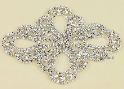 1 X Clear Crystal Rhinestone Silver Appliques Lady Bridal Costume Dress Sewing