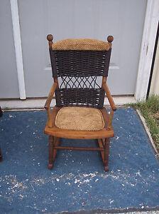 Child-039-s-Maple-amp-Wicker-Rocker-Rocking-Chair-R134