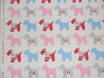 "Clarke and Clarke Scotties Grey/Pink Fabric 137cm/54"" wide"