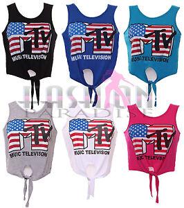 WOMENS-LADIES-MTV-AMERICAN-USA-FLAG-VEST-CROP-TOP-TIE-T-SHIRT-VEST-SIZE-8-10-12