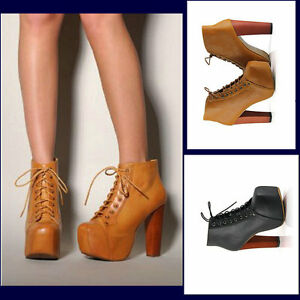 Hot-Lady-Lace-up-Thick-Heels-Super-High-Platform-Square-Toe-Ankle-Boots-Shoes
