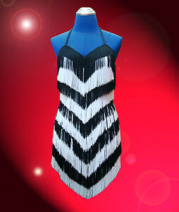 Black-and-White-Samba-Latin-Salsa-ballroom-Fringe-trim-dance-dress-costume-skirt