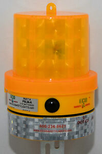 BD8LI-AMBER-Beacon-Barricade-Light-8-LED-039-s-Warning-Safety-1000-Hours-DAY-NIGHT