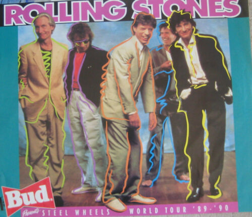 ROLLING STONES ORIGINAL BUD PRESENTS STEEL WHEELS WORLD TOUR '89-'90 poster