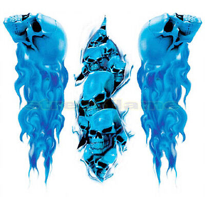 FLAMING SKULL SET Decals Stickers CAR MOTORCYCLE FLAME