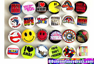 12-x-80s-Fancy-Dress-Retro-Pin-Button-Badges-1980s-Random-Selection