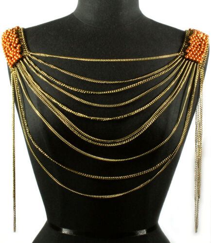 Gold Armor Body Necklace Women Jewelry Multi layer Chain Beads Harness NEW