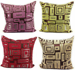 CUSHIONS-CUSHION-COVERS-LARGE-SETOF-4-CHENILLE-SCATTER-CUSHIONS-4-LOVELY-COLOURS