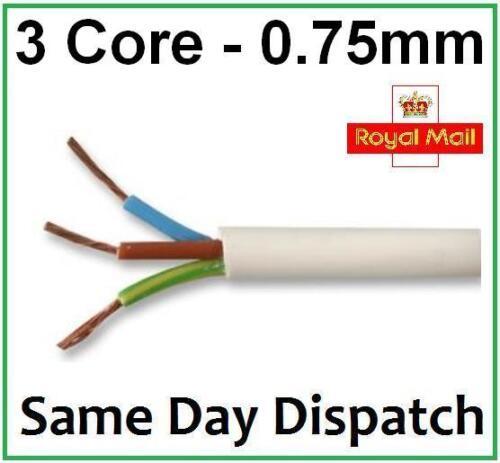 WHITE 0.75mm 3 CORE ELECTRICAL FLEX WIRE 240 VOLT MAINS LEAD 5 AMP CABLE
